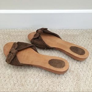 J Crew suede and wood sandals